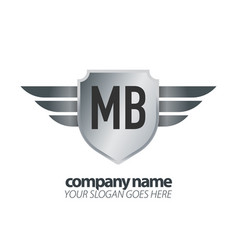 Initial letter mb shield icon design logo wing vector