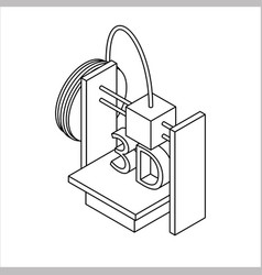isometric 3d printer outline icon vector image