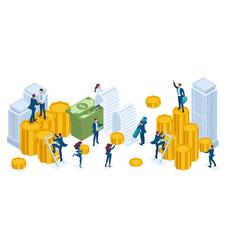 Isometric set businessmen investors bankers vector