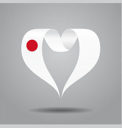 japanese flag heart-shaped ribbon vector image