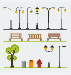 light posts and outdoor elements for construction vector image