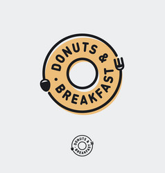 logo donut breakfast cafe bistro fork spoon vector image