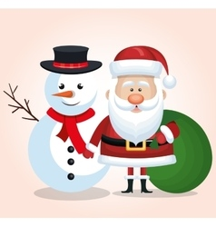 merry christmas snowman and santa claus bag gift vector image