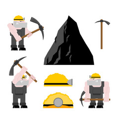 miner worker mining set collier with pickaxe vector image