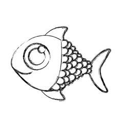 Monochrome sketch of fish with big eye vector