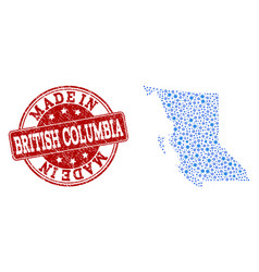 Mosaic map of british columbia province with wheel vector