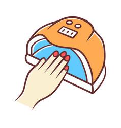 Nail dryer color icon uv led hybrid lamp gel vector