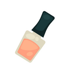 Nail polish of nude tender color in small bottle vector
