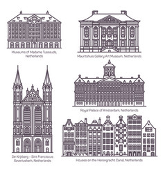Netherland or dutch architecture in thin line vector