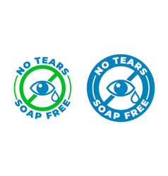 No tears formula soap free shampoo icon kids and vector