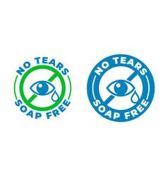 No tears formula soap free shampoo icon kids and vector