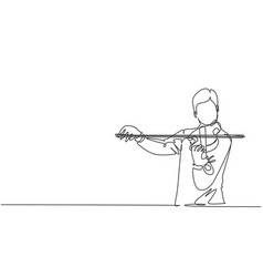 One single line drawing male violinist vector