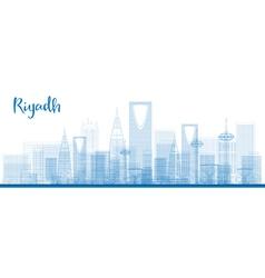 Outline Riyadh skyline with blue buildings vector