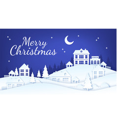 paper cut christmas town winter village night vector image