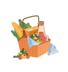 picnic basket on napkin food and drinks bakery vector image