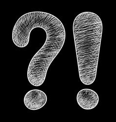 question and exlamation marks hand drawn sketch vector image