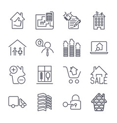 Real estate thin icons handshake contract vector