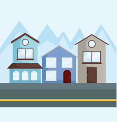 row of houses design vector image