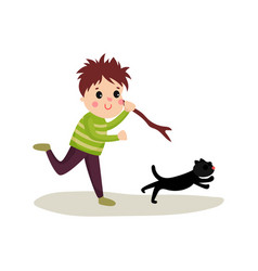 Rude boy running after cat with stick in his hand vector