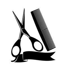 Scissors and comb vector