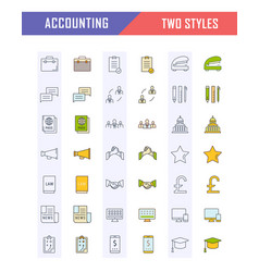 set flat line icons accounting and finance vector image