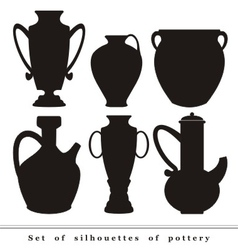 Set of silhouettes of antique ceramic ware pottery vector