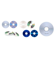 set realistic dvd high speed or cd disc vector image