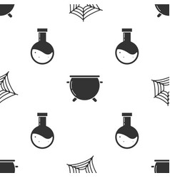 Set spider web halloween witch cauldron and vector