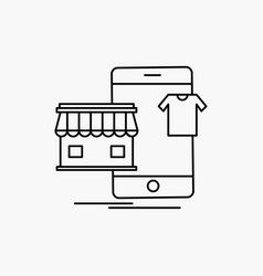shopping garments buy online shop line icon vector image