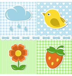 Summer icons of flower strawberry cloud and bird vector image vector image