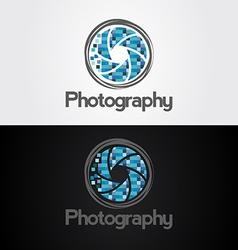 Symbol of camera shutter template logo design vector image