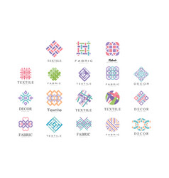 Textile fabric decor logo design set tailor vector
