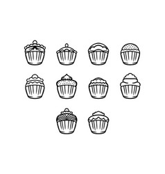 thin line cupcake icon set vector image