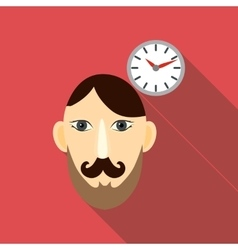 Time brain icon flat style vector