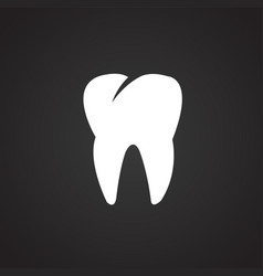 Tooth icon on black background vector