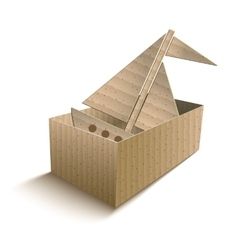 Toy boat in an open cardboard box vector