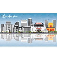 Ulaanbaatar Skyline with Gray Landmarks vector
