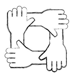 united teamwork hands icon vector image
