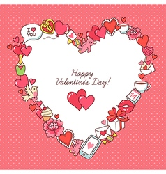 Valentine card frame heart vector