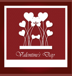 valentines day card with hearts and pattern vector image