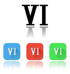 Vi roman numeral icons colored set vector