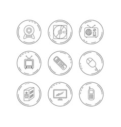 web camera radio and mobile phone icons vector image