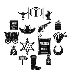 wild west icons set design logo simple style vector image