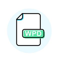 wpd file format extension color line icon vector image