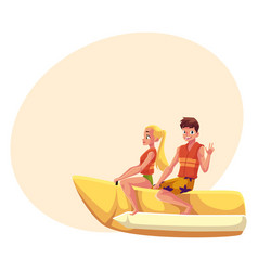 young couple man and woman riding banana boat vector image