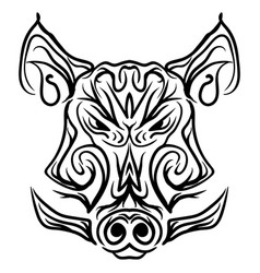 boar head black and white isolated tattoo vector image vector image