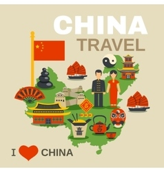 Chinese Culture Traditions Travel Agency Poster vector image vector image