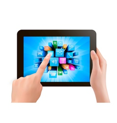 Hand holding touch pad pc and finger touching its vector image vector image