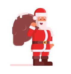 happy santa claus with bag vector image