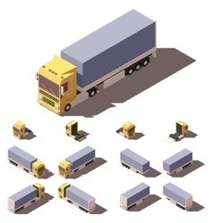 isometric truck with tilt box semi-trailer vector image vector image